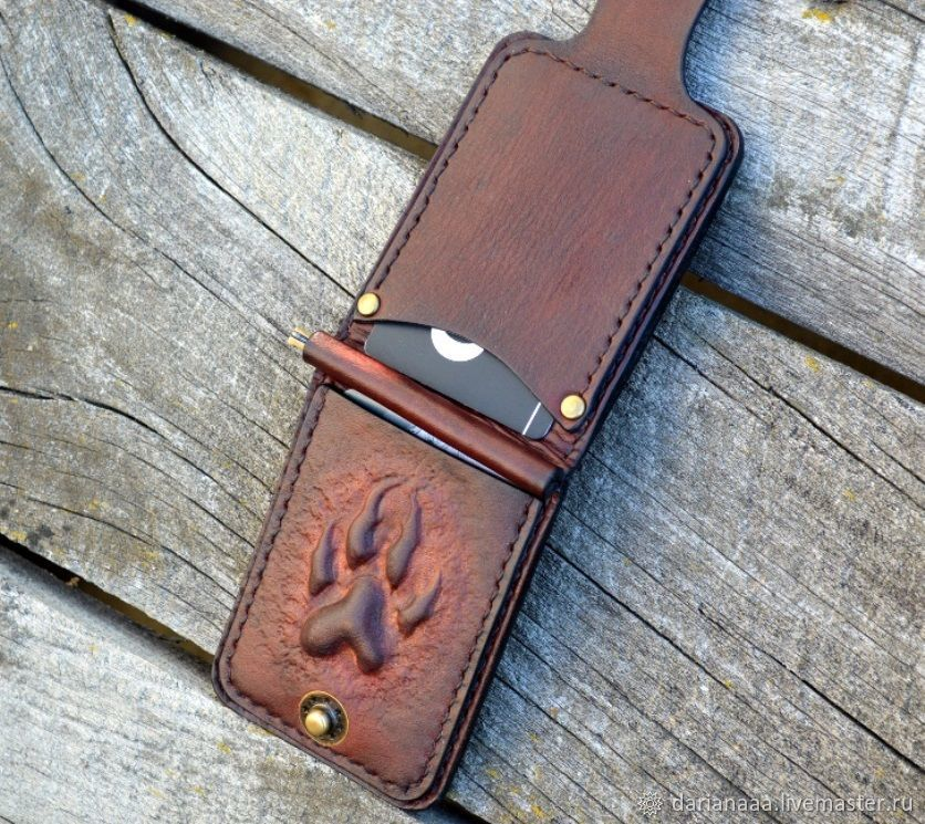 Leather clip for bills ' Wolf's paw', Clamps, Sizran,  Фото №1