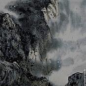 Картины и панно ручной работы. Ярмарка Мастеров - ручная работа картина На краю земли (китайская живопись стильный интерьер). Handmade.