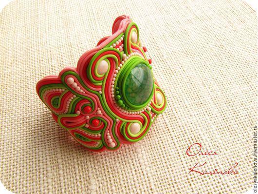 Браслет ручной работы из полимерной глины имитация сутажной вышивки Коралловый риф (авторская бижутерия)