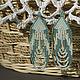 Серьги ручной работы. Ярмарка Мастеров - ручная работа. Купить Длинные бирюзовые серьги с бахромой в этническом стиле. Handmade. Пастель