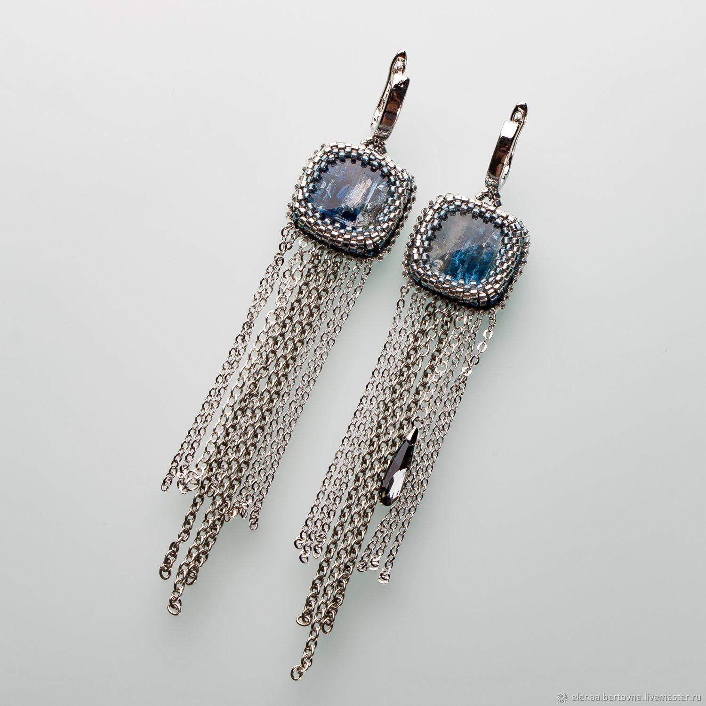 Blue ocean Teardrop Earrings with blue kyanites, Earrings, Krasnoyarsk,  Фото №1