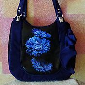 Сумки и аксессуары handmade. Livemaster - original item Women`s leather bag with suede with painted Blue Flower good Luck and Happiness. Handmade.