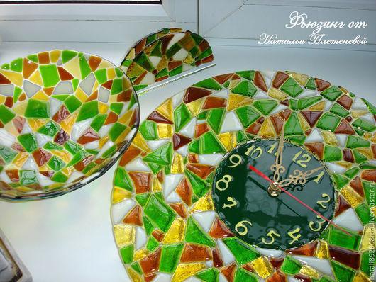 """Кухня ручной работы. Ярмарка Мастеров - ручная работа. Купить Набор для кухни """"Мозаика"""". Фьюзинг. Handmade. Зеленый, часы настенные"""