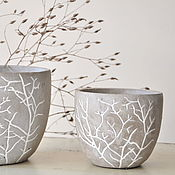 Цветы и флористика handmade. Livemaster - original item A set of concrete planters Branches in the style of Provence, Loft, Country, Vintage. Handmade.