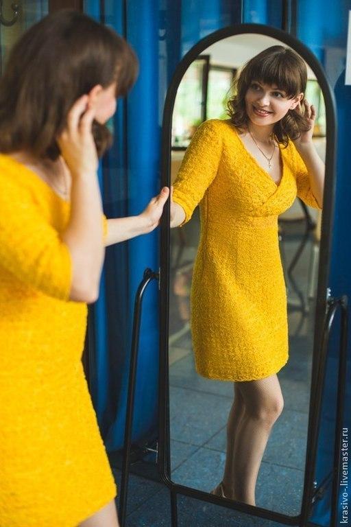 """Платья ручной работы. Ярмарка Мастеров - ручная работа. Купить Платье """"Летнее"""". Handmade. Желтый, платье коктейльное, платье короткое"""