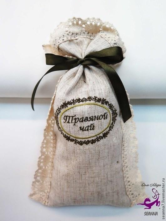 """Кухня ручной работы. Ярмарка Мастеров - ручная работа. Купить Мешочек льняной для чая с вышивкой """"Травяной чай с оливковой веточкой"""". Handmade."""