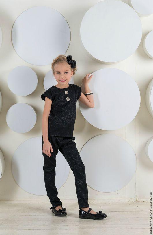 Одежда для девочек, ручной работы. Ярмарка Мастеров - ручная работа. Купить Жаккардовый топ и брючки. Handmade. Черный, брюки, лереде