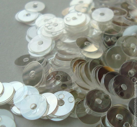 Для украшений ручной работы. Ярмарка Мастеров - ручная работа. Купить Пайетки гладкие жемчужно-прозрачные, 7 мм. Handmade.