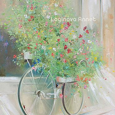 Картины и панно ручной работы. Ярмарка Мастеров - ручная работа Flower bicycle. Handmade.