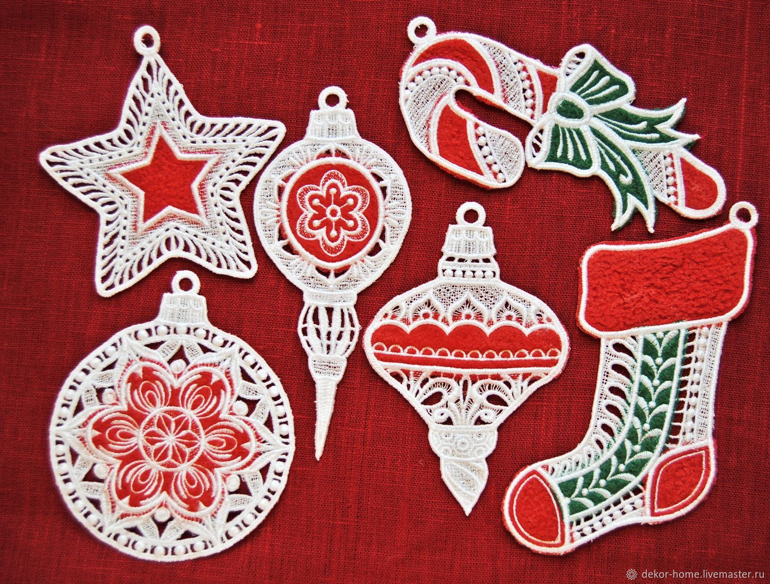 Set of Christmas decorations 'Red and green' 6 pieces, Christmas decorations, Moscow,  Фото №1