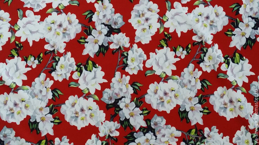 Crepe stretch 'Jasmine' on a red background, Fabric, Moscow,  Фото №1