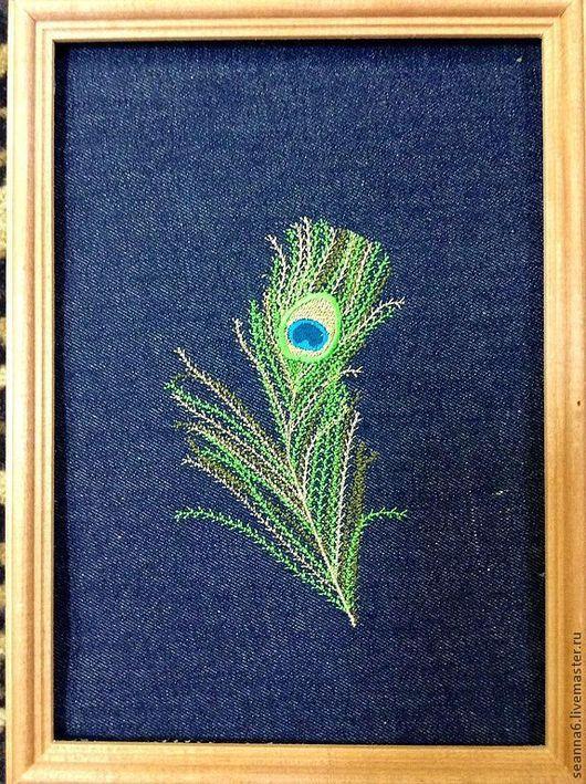 """Этно ручной работы. Ярмарка Мастеров - ручная работа. Купить Вышитая картинка, картина, панно """"Перо павлина"""". Handmade."""