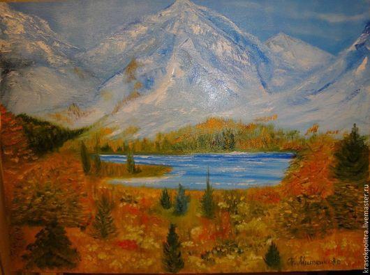 Пейзаж ручной работы. Ярмарка Мастеров - ручная работа. Купить осень в горах. Handmade. Желтый, гора, голубой, Снег, осень