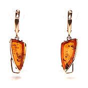 Украшения handmade. Livemaster - original item Gold plated earrings with amber