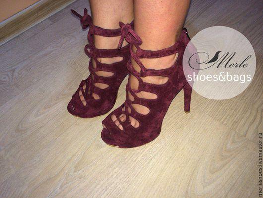 Обувь ручной работы. Ярмарка Мастеров - ручная работа. Купить Боосножки бордо, натуральная замша, шнуровка, 10 см. Handmade.