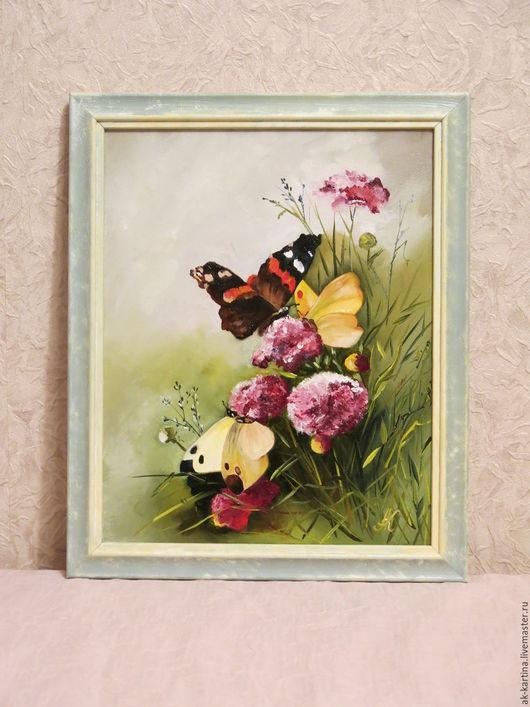 """Картины цветов ручной работы. Ярмарка Мастеров - ручная работа. Купить """"Бабочки на цветах"""" Масло. Холст на подрамнике. Handmade. Комбинированный"""