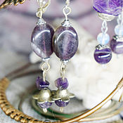 Украшения handmade. Livemaster - original item Long earrings with amethysts. Handmade.