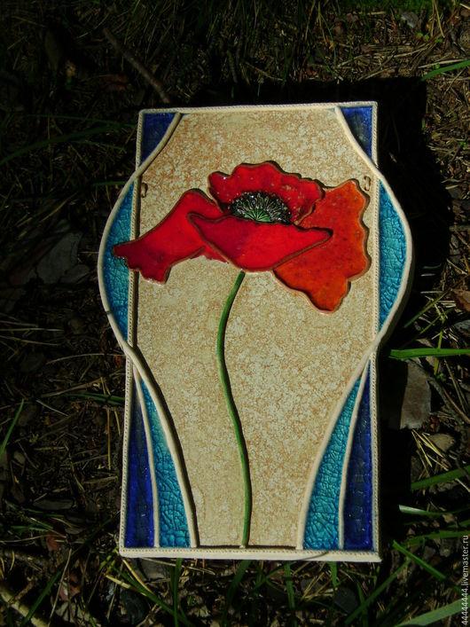 Картины цветов ручной работы. Ярмарка Мастеров - ручная работа. Купить панно Яркий мак  керамика. Handmade. Изразец