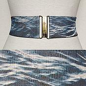Belt handmade. Livemaster - original item Belt-gum Blue Water 60mm, buckles to choose. Handmade.
