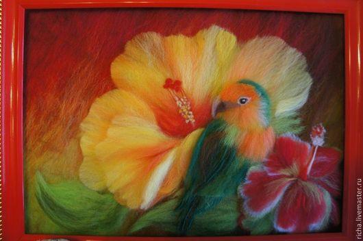Картина из шерсти по мотивам работ Картины Carol Cavalaris`Мир волшебных цветов