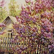 Картины и панно ручной работы. Ярмарка Мастеров - ручная работа Картина маслом, Сиреневый сад. Handmade.