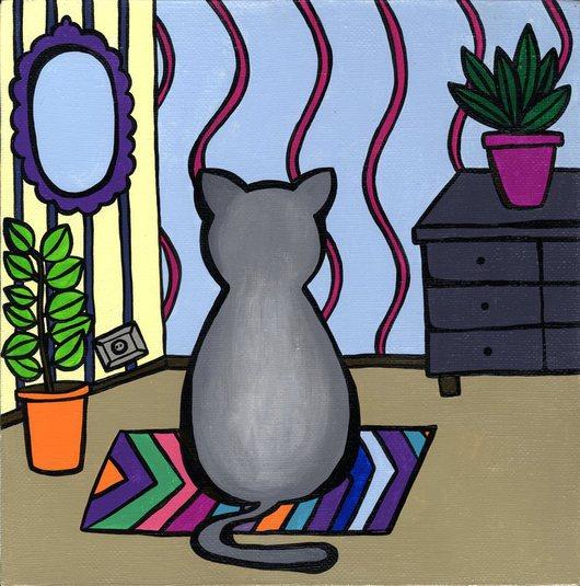 Животные ручной работы. Ярмарка Мастеров - ручная работа. Купить Кот. Handmade. Разноцветный, животные, холст, анимализм, акриловые краски