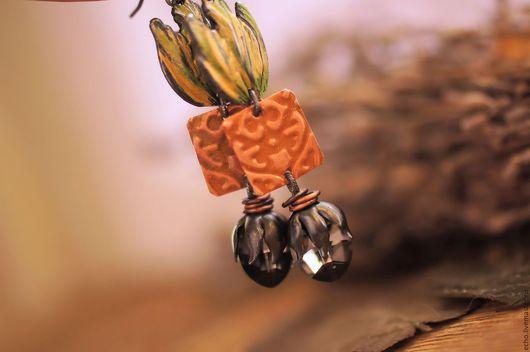 """Серьги ручной работы. Ярмарка Мастеров - ручная работа. Купить Серьги """"Темный бутон"""". Handmade. Комбинированный, украшения ручной работы"""