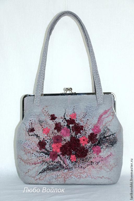 """Женские сумки ручной работы. Ярмарка Мастеров - ручная работа. Купить Валяная сумка """"Дождливый день"""" цвет серый. Handmade."""