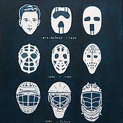 Картины и панно ручной работы. Ярмарка Мастеров - ручная работа Эволюция хоккейных масок. Handmade.