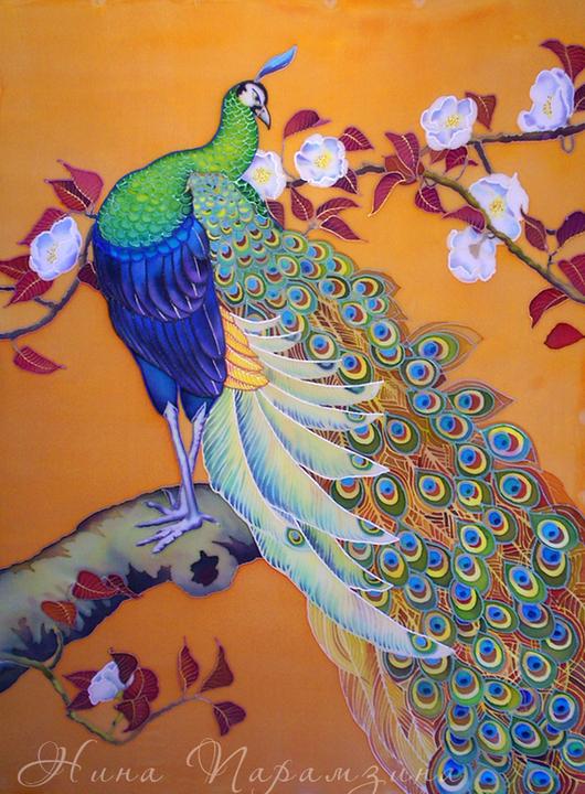Картины цветов ручной работы. Ярмарка Мастеров - ручная работа. Купить Картина, панно, батик. Павлин.. Handmade. Оранжевый