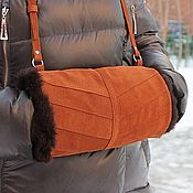 Сувениры и подарки handmade. Livemaster - original item Gift for February 14 Muff Hand Bag made of suede with sheepskin fur. Handmade.