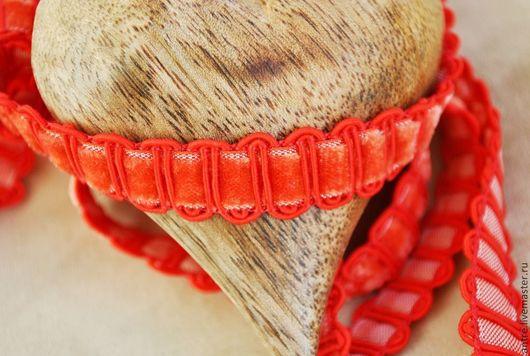 """Шитье ручной работы. Ярмарка Мастеров - ручная работа. Купить Тесьма сутаж/бархат """"красный Коралл"""" (Италия). Handmade. Коралловый, лента"""