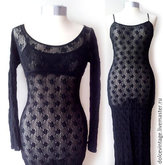 Винтажное итальянское черное макси платье ,вечернее кружевное платье с балеро