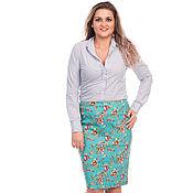 Одежда handmade. Livemaster - original item Cotton skirt with flowers turquoise bright. Handmade.