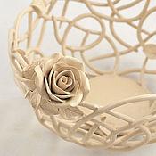 handmade. Livemaster - original item The Cream roses candy bowl 18cm. Handmade.