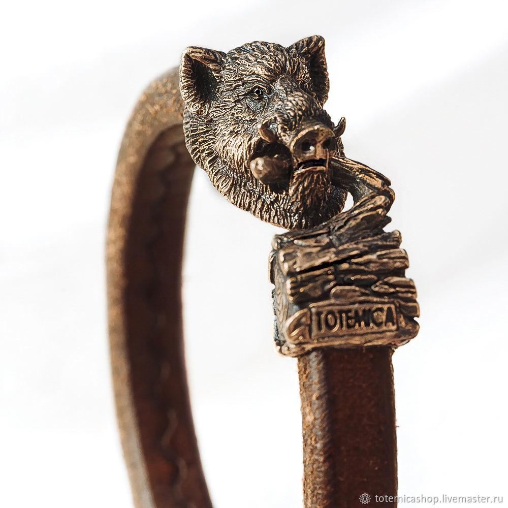 Bronze bracelet Boar, leather, Regaliz bracelet, Moscow,  Фото №1