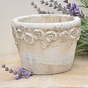 Цветы и флористика handmade. Livemaster - original item Flower pot is made of concrete with an oversized Rose print, Provence Vintage. Handmade.