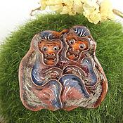 Украшения ручной работы. Ярмарка Мастеров - ручная работа Брошь с обезьянками. Handmade.
