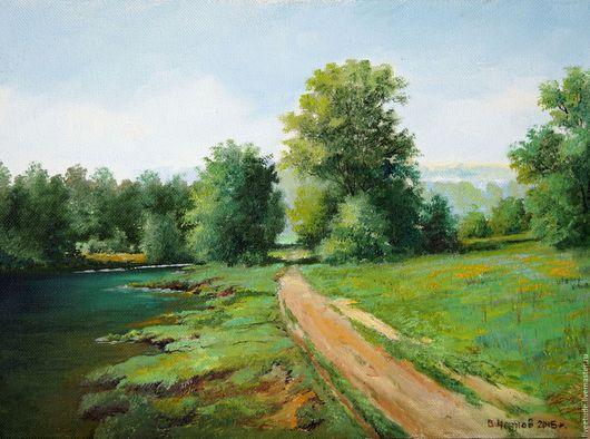 Картина маслом на холсте,авторская работа,картина для интерьера,картина с изумрудной водой