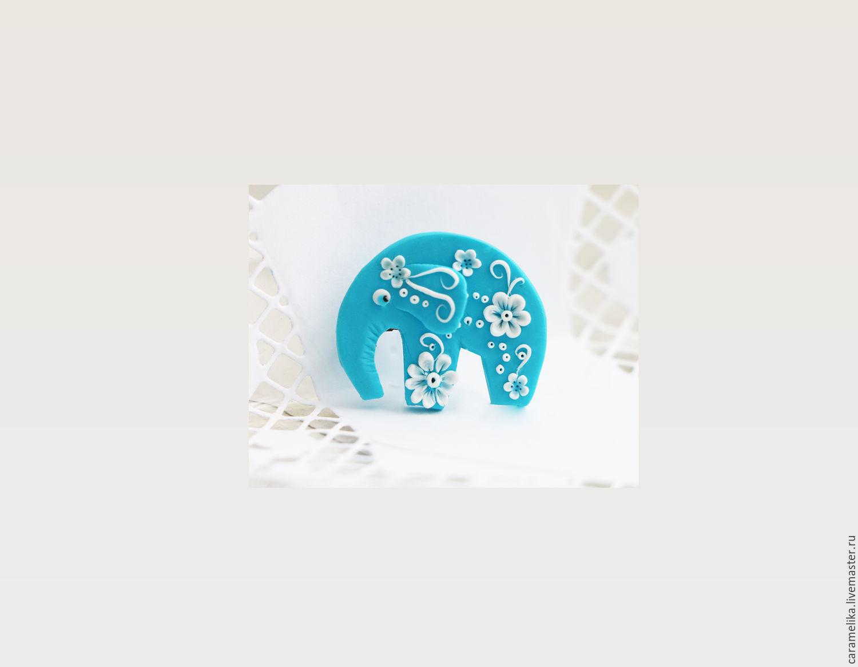 """Бирюзовый слон"" брошь, Брошь-булавка, Москва,  Фото №1"