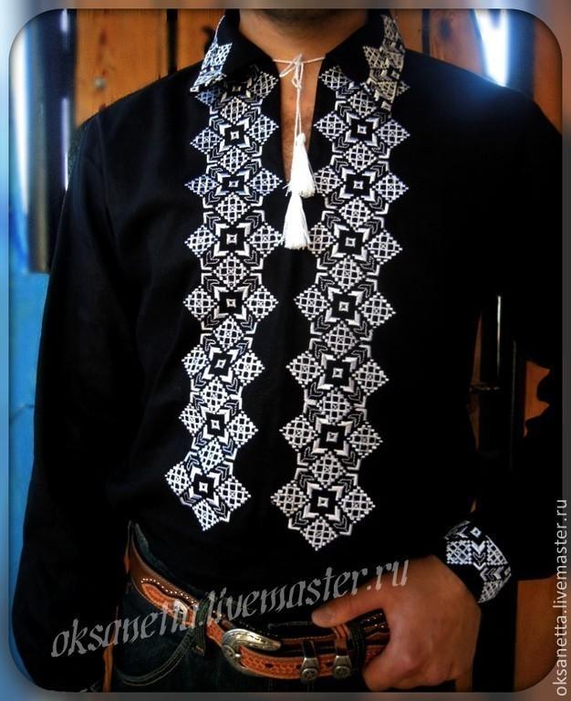 For Men handmade. Livemaster - handmade. Buy Shirt-vyshivanka for men.Embroidery, monochrome, gift to man
