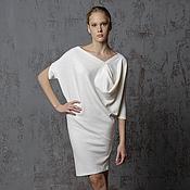 Одежда ручной работы. Ярмарка Мастеров - ручная работа Платье Лотос белое трикотажное тёплое с ангорой эксклюзивное. Handmade.