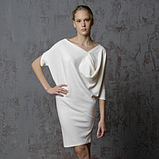 Одежда handmade. Livemaster - original item Dress Lotus white knitted warm Angora exclusive. Handmade.