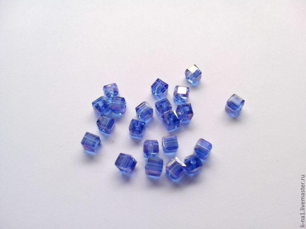 Бусина куб синий, 3 мм (10шт), Бусины, Москва,  Фото №1