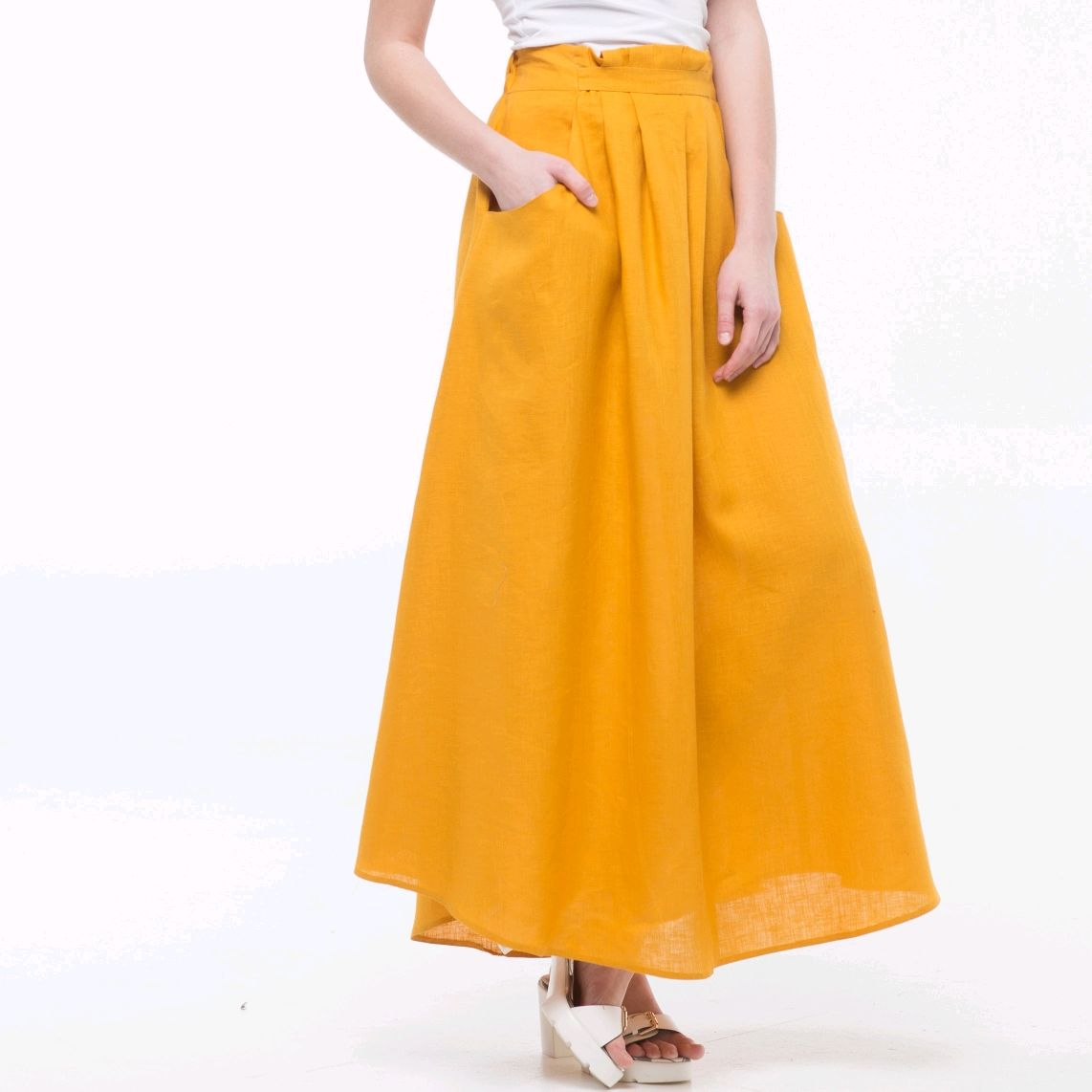Skirt made of 100% linen mustard color, Skirts, Tomsk,  Фото №1