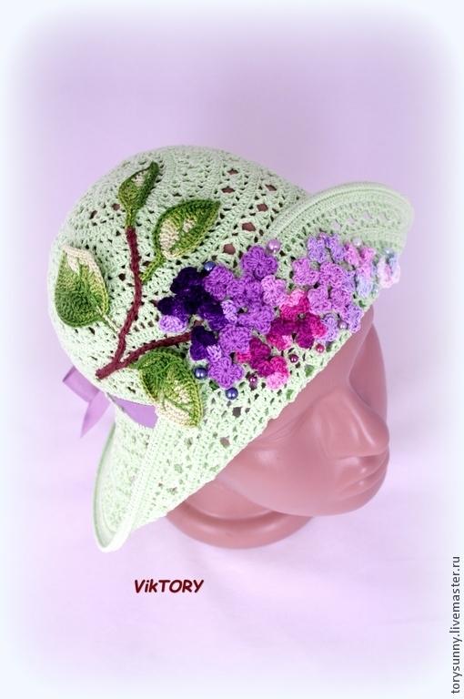 """Шапки и шарфы ручной работы. Ярмарка Мастеров - ручная работа. Купить Шляпка """"Кружевница"""".. Handmade. Разноцветный, шляпка с цветами, хлопок"""