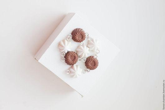 """Браслеты ручной работы. Ярмарка Мастеров - ручная работа. Купить Сладкий браслет """" Шоколад и зефир """". Handmade. Белый"""