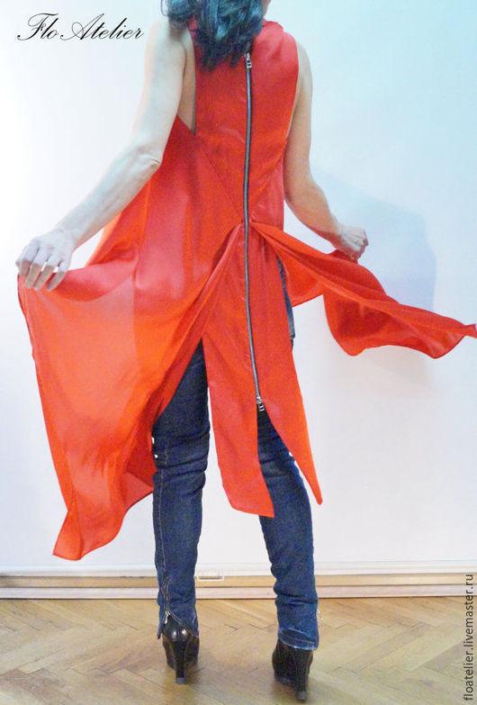 Платья ручной работы. Ярмарка Мастеров - ручная работа. Купить Свободная Ассиметричная Туника/Летнее платье/F1209. Handmade. Рыжий, летняя одежда