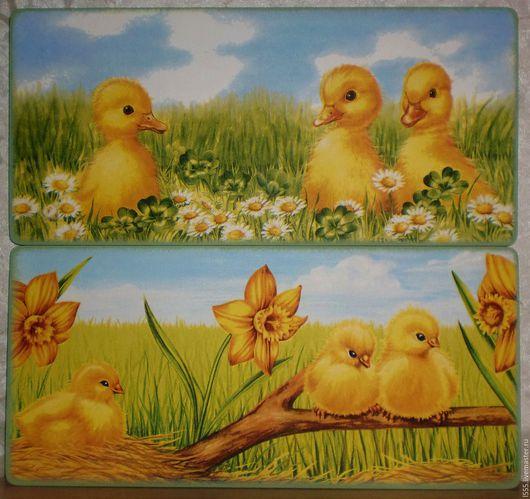 """Кухня ручной работы. Ярмарка Мастеров - ручная работа. Купить """"Птенчики"""" Разделочная доска панно. Handmade. Комбинированный, цыплята"""