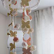 Для дома и интерьера ручной работы. Ярмарка Мастеров - ручная работа Гирлянды-подвески с цветами и бабочками. Handmade.